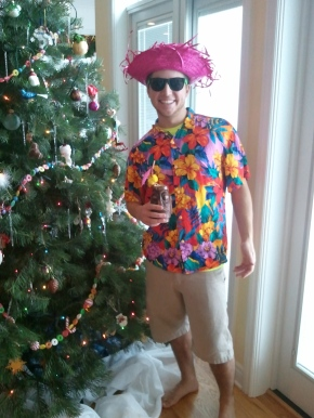 My younger brother wore a shirt my grandma brought back from Hawaii. The hat, courtesy of Goodwill.