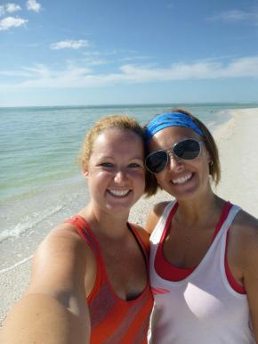 Sep and me on Shell Key - the water was really that blue!