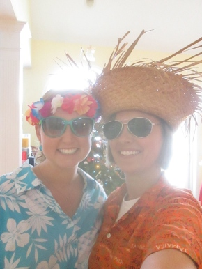 September and me donning our Hawaiian getup!