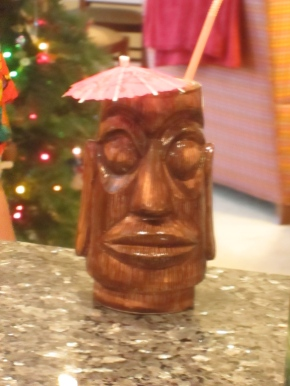Tiki head cups my parents dug out of their basement - perfect for tropical drinks!