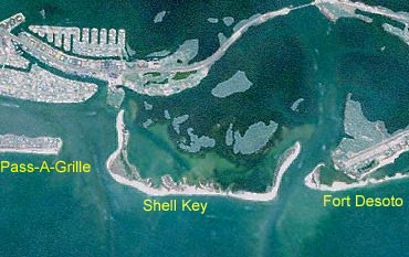The southern tip of Shell Key is just a few hundred feet north of the tip of Ft. DeSoto, so it's easy to access by boat.